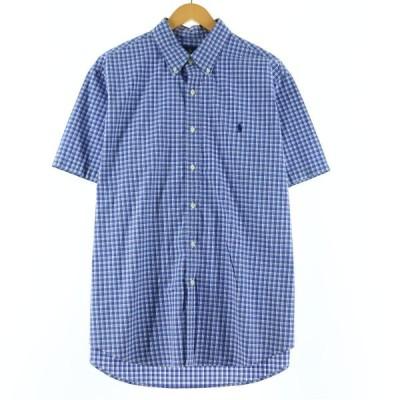 ラルフローレン Ralph Lauren 半袖 ボタンダウンチェックシャツ メンズL /eaa143571