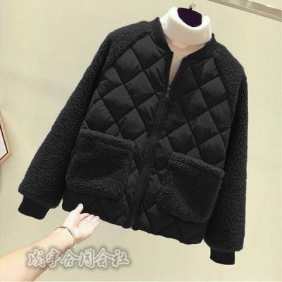 レディース 中綿ジャケット  ラムウール ドッキング 長袖 キルティングコート ゆったり 体型カバー カジュアル 暖かい 厚手コート 秋冬