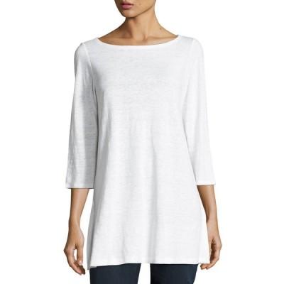 エイリーンフィッシャー レディース シャツ トップス Petite 3/4-Sleeve Organic Linen Jersey Tunic