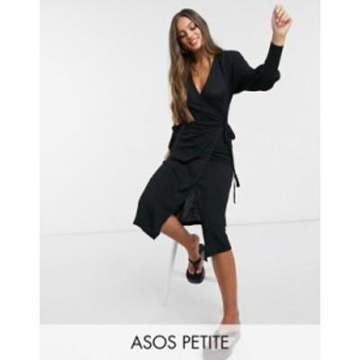 エイソス レディース ワンピース トップス ASOS DESIGN Petite wrap midi dress BLACK