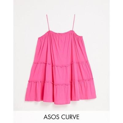 エイソス ドレス 大きいサイズ レディース ASOS DESIGN Curve strappy sundress with tiered frill detail in hot pink エイソス ASOS ピンク