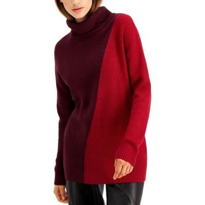 アルファニ Alfani レディース ニット・セーター トップス Asymmetrical-Print Ribbed Turtleneck Sweater Berry Jam/Dark Ruby