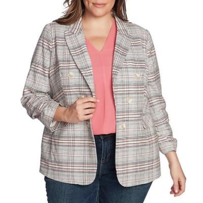 ワンステート レディース ジャケット・ブルゾン アウター Plus Size Ruched Sleeve Double Breasted Cotton Blend Plaid Blazer