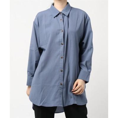 シャツ ブラウス 【サラッとした肌触り】麻風ワッシャー素材ビッグシャツ