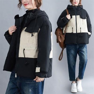 レディース 中綿コート オーバーコート 綿入れ 中綿ジャケット フード 防寒 秋冬 女子アウター