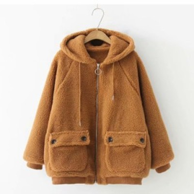 厚手アウター ムートンコートコート ショート フード付き ジャケット 秋冬 暖か アウター レディース コート 防寒 アウター おしゃれ