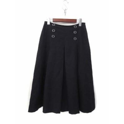 【中古】エプローヴ Eprouve スカート L 紺 ネイビー ひざ丈 無地 シンプル フレア レディース