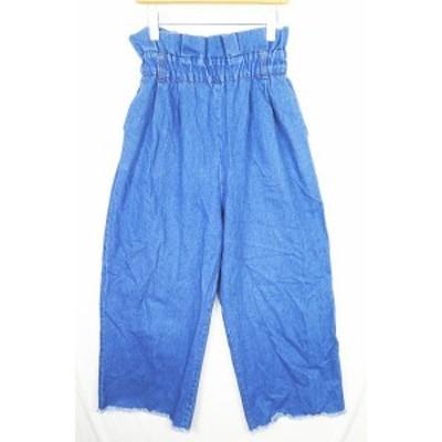 【中古】メルロー merlot デニム ワイドパンツ 裾切りっぱなし M ブルー 2sa0786 レディース