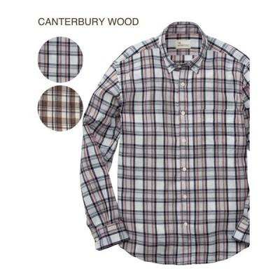 シャツ カジュアル メンズ CANTERBURY WOOD カンタベリーウッド クレープ チェック柄 長袖 M/L/LL ニッセン