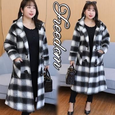 大きいサイズ ラシャコート コート ロングコート 大きいサイズのモノトーンチェック柄ロングコート 5L 6L 7L 8L 9L サイズ セール
