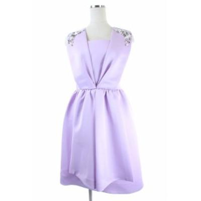 【中古】チェスティ Chesty 18SS Iconic Bijou ワンピース ビジュー装飾 ひざ丈 ノースリーブ 0 紫 /KN ■OS レディース