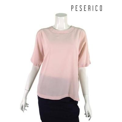 PESERICO【ペセリコ】【レディース】スリットスリーブシルクストライプブラウス/ピンク【サイズ42】【イタリア製】