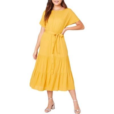 ビービーダコタ BB Dakota レディース ワンピース ミドル丈 ワンピース・ドレス Sundown Crinkled Rayon Midi Dress Canary Yellow
