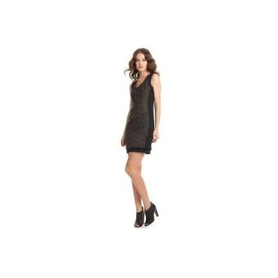トリーナターク ドレスTRINA TURK レディース SHARISE レオパード JACQUARD ノースリーブ ドレス ブラック 12 MSRP268