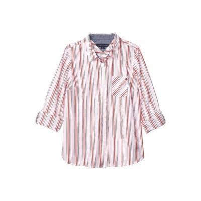 トミー ヒルフィガー シャツ トップス レディース Roll Tab - Sailway Stripe Ballerina Pink Multi