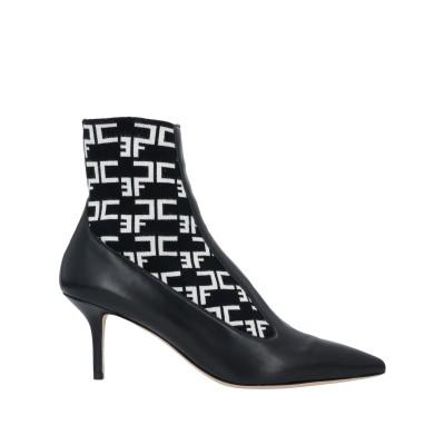 ELISABETTA FRANCHI ショートブーツ ブラック 40 革 / 紡績繊維 ショートブーツ