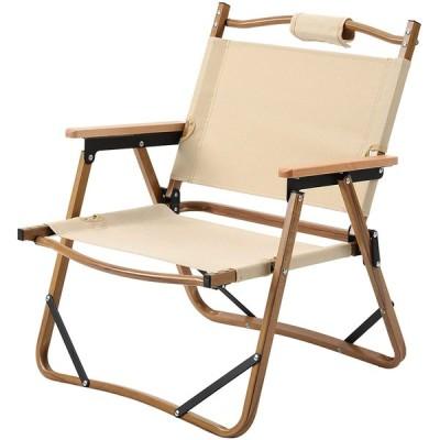 Greenfamily アウトドアチェ ア キャンプ 椅子 イス 折りたたみ 軽量 コンパクト 耐荷重120kg ロースタイルチェア 天然木 肘置き