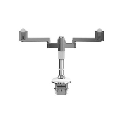 """HumanScale M2 M/Flex Dual Monitor Arm Single Straight Link 12"""" High Post with Integrated Clamp Mount Aluminum White MF22W66C12 並行輸入"""