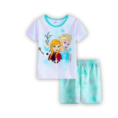 男の子 女の子 キッズ ディズニー 子供 こども プリント パジャマ 半袖&短パン(アナと雪の女王)90cm〜130cm 綿100%