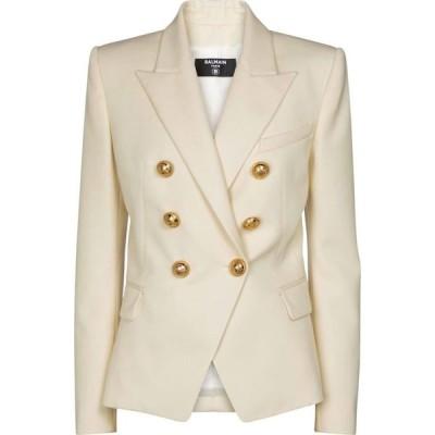 バルマン Balmain レディース スーツ・ジャケット アウター Double-breasted wool blazer Ficelle