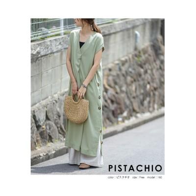 【la-gemme】ボタンスリットワンピース (ワンピース)Dress