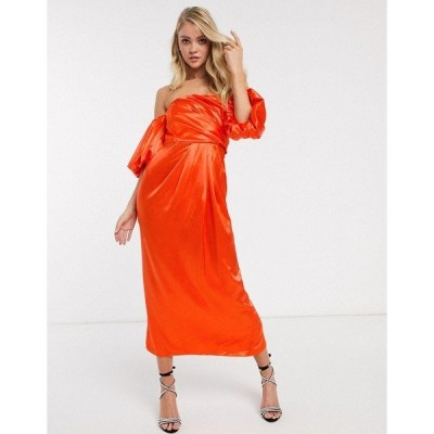 エイソス レディース ワンピース トップス ASOS EDITION drape off shoulder midi dress in satin Orange