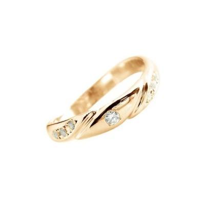 ピンキーリング 婚約指輪ダイヤモンド リング 指輪 エンゲージリング ピンクゴールドk18 18k 18金 ダイヤ 4月誕生石 ストレート 送料無料