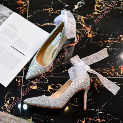 靴 レディース パンプス 歩きやすい ヒール 痛くない パンプス パーティー 結婚式 お呼ばれ グリッター ラメ キラキラ ポインテッドトゥ ハイヒール