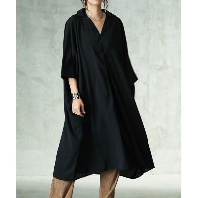 スキッパー衿ゆったりドルマンシャツワンピース (ワンピース)Dress