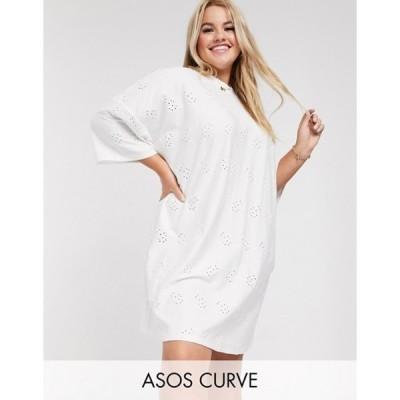 エイソス レディース ワンピース トップス ASOS DESIGN Curve broderie super oversized t-shirt dress in white