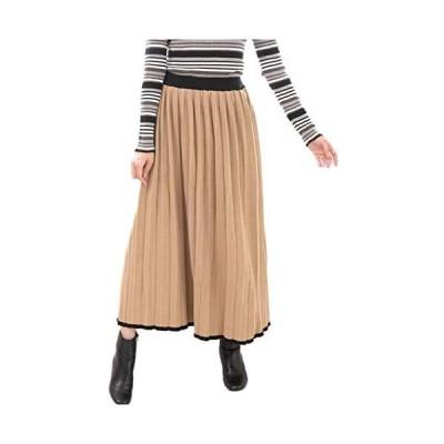 [メリーボックス] プリーツスカート ニット フレア ゆったり ウエストゴム ロングスカート ニットスカート (ベージュ/ブラック LL-3L)