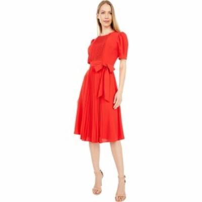 ロンドンタイムス London Times レディース ワンピース ワンピース・ドレス Catalina Crepe Short Sleeve Pleated Midi Dress Tomato