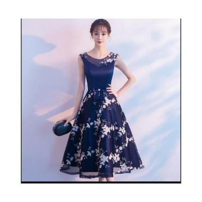 韓国風 レディース パーティードレス 謝恩会 お嬢様 ワンピース イブニングドレス ミドルドレス 結婚式 二次会 ウェディングドレス 着痩せ お呼ばれドレス