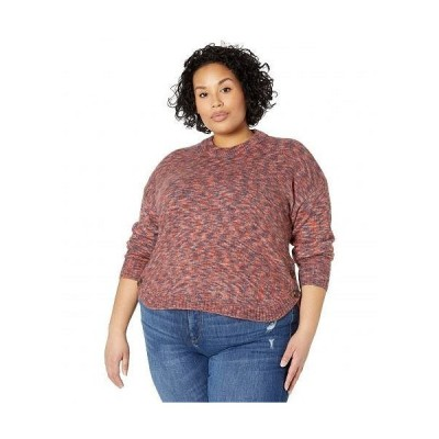 Madewell レディース 女性用 ファッション セーター Plus Size Space Dye Demi Side Button Pullover - Space Dye Sangria