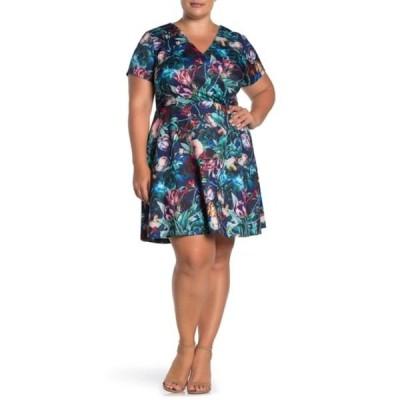 アレクシアアドマー レディース ワンピース トップス Brooke Floral Fit & Flare Dress (Plus Size) MULTI FLORAL