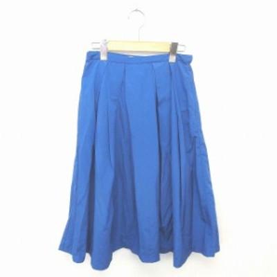 【中古】アーバンリサーチ ドアーズ URBAN RESEARCH DOORS スカート フレア ロング 薄手 無地 シンプル F 青 ブルー