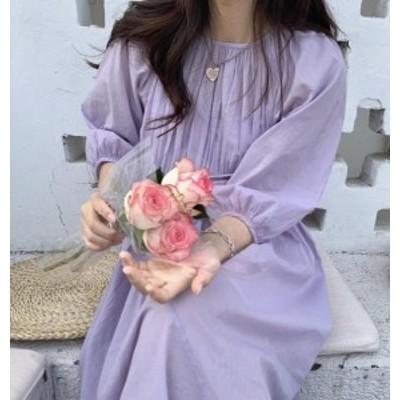 ワンピース ロング 春 長袖 韓国 ファッション レディース フレア ゆったり 体型カバー 無地 大人可愛い フェミニン きれいめ シンプル