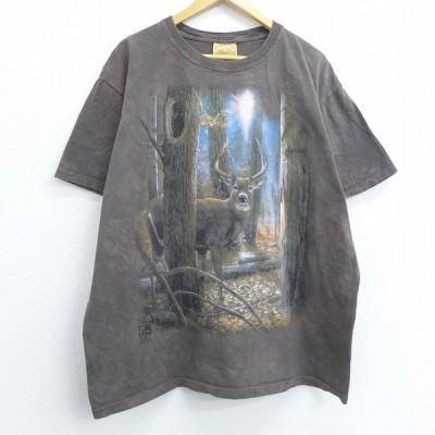 XL/古着 半袖 ビンテージ Tシャツ 90s シカ 枯れ葉 大きいサイズ コットン クルーネック 茶 ブラウン タイダイ 20jun26 中古 メンズ