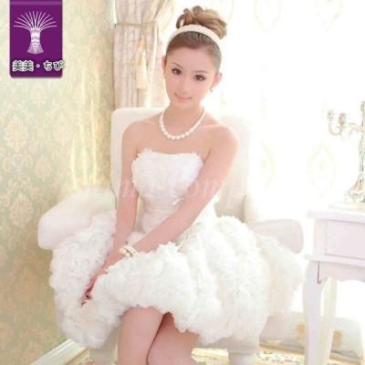 ウェディングドレス エンパイア 二次会 ミニドレス  ベアトップ レースアップ プリンセスライン 付添いドレス   結婚式 花嫁 ドレス 白  リボン付き