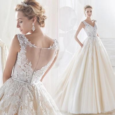 ウェディングドレス 二次会 結婚式 白 ワンピース 花嫁 ロングドレス 旅行 撮影ドレス レース プリンセスドレス 豪華 トレーン Vカット 大きいサイズ