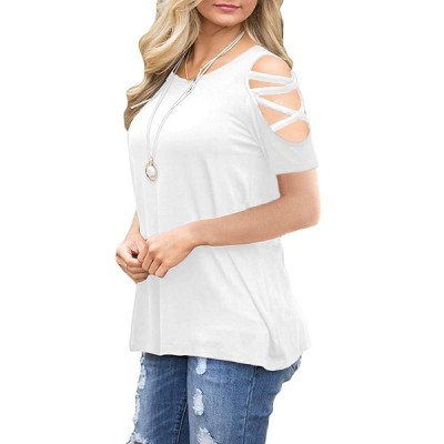 CHYRII Women's Summer Cold Shoulder Criss Cross Short Sleeve Casual Sh