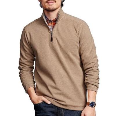 ジョンストンアンドマーフィー メンズ ニット&セーター アウター Reversible Solid Quarter-Zip Pullover Oatmeal