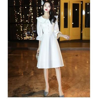 パーティードレス ウエディングドレス 上品 結婚式ワンピース ミモレ丈ドレス 袖あり プレゼント 大人 20代 30代 40代 誕生日 お呼ばれドレス 成人式 披露宴