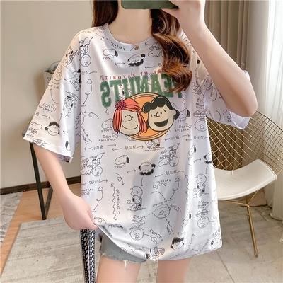 大學T寬鬆大碼短袖T恤M8720#卡通新款日韓版滿印潮牌INS中長款短袖T恤女TBF12胖妞衣櫥