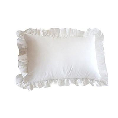 枕カバー 75×50cm(70x50cmも可) 綿100% ピローケース ホワイト 無地 フリル付き 結婚式 (ホワイト 75×50cm)