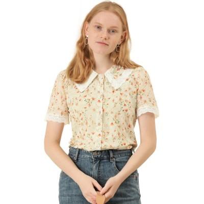 uxcell Allegra K シャツ 丸襟 襟付きブラウス 花柄 刺繍 レース パフスリーブ 半袖 ヴィンテージ レディース ベージュ XS