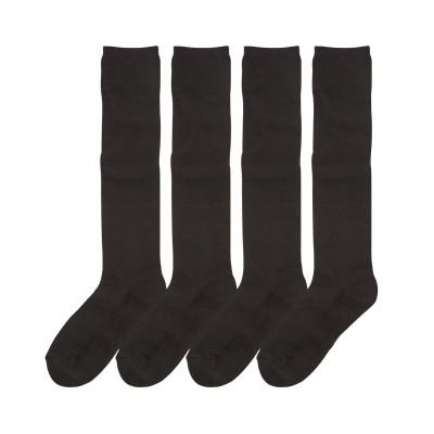 吸湿発熱 あったか底パイル黒無地ハイソックス4足組(フリーサイズ) ハイソックス・オーバーニー, Socks