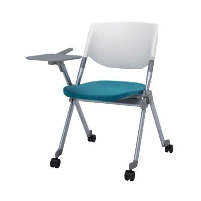 スタッキングチェア キャスター付き 送料無料 パソコンチェア 布張り テーブル付き タブレット付き イス 椅子 オフィスチェア ミーティングチェア H141TA-FFW