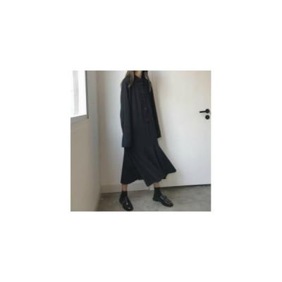 ファッション レディース アパレル ワンピース・チュニック シャツ ワンピース ロング ブラック 無地 普段着 フレア nb0515wp10 お取り寄せ商品 yuho
