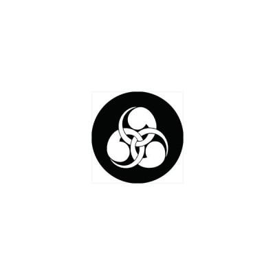 家紋シール 右金輪巴紋 直径4cm 丸型 白紋 4枚セット KS44M-0235W